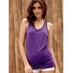 Trendy U-Neck Hollow Out Solid Color Women's Racerback Top for sale