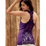 Trendy U-Neck Hollow Out Solid Color Women's Racerback Top photo