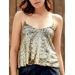 Sexy Spaghetti Strap Sequins Tank Top For Women