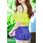 Stylish Flounced Top and Pleated Culotte Two-Piece Swimwear For Women deal
