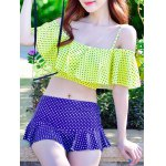 Stylish Flounced Top and Pleated Culotte Two-Piece Swimwear For Women