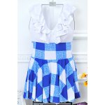 Stylish Plunging Neck High Waist Checked Swimwear For Women for sale