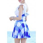 Stylish Plunging Neck High Waist Checked Swimwear For Women deal