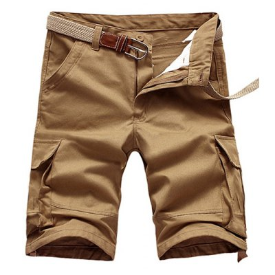 Loose Fit Men's Summer Pocket Solid Color Cargo Shorts