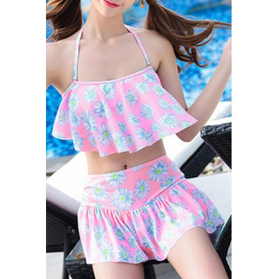 Sweet Style Flouncing Floral Print Tankini Set For Women