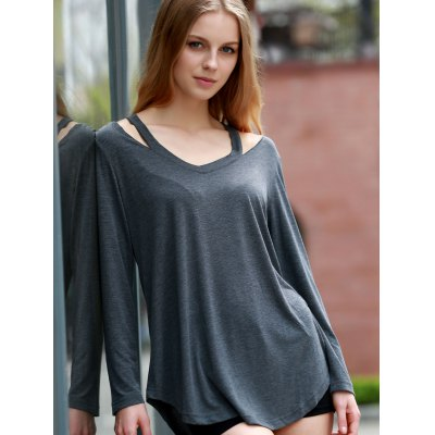 Stylish V-Neck Long Sleeve Hollow Out Asymmetrical T-Shirt For Women