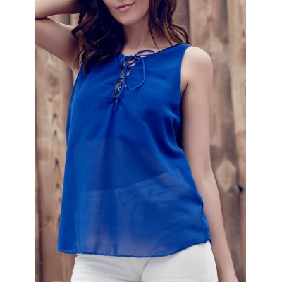 Lace Up Chiffon Tank Top