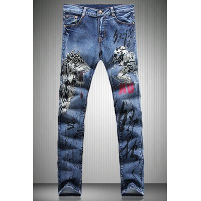 Straight Leg Tiger Pattern Print Zipper Fly Men's Jeans