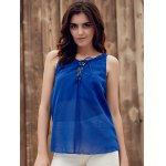 cheap Lace Up Chiffon Tank Top