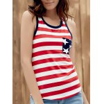 Brief Style U Neck Star Print Striped Racer Tank Top For Women