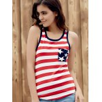cheap Brief Style U Neck Star Print Striped Racer Tank Top For Women