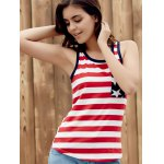 Brief Style U Neck Star Print Striped Racer Tank Top For Women deal
