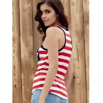 Brief Style U Neck Star Print Striped Racer Tank Top For Women for sale
