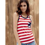 best Brief Style U Neck Star Print Striped Racer Tank Top For Women