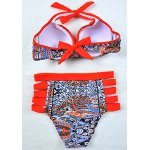 Alluring Tribal Print Hollow Out Halter Bikini Set For Women for sale