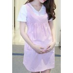 cheap Sweet Scoop Collar Polka Dot Two Button Pregnant Dress + Pure Color Tee Twinset For Women