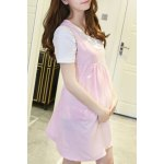 Sweet Scoop Collar Polka Dot Two Button Pregnant Dress + Pure Color Tee Twinset For Women deal