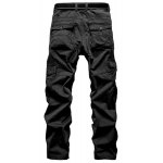 cheap Laconic Straight Leg Multi-Pocket Solid Color Zipper Fly Cargo Pants For Men