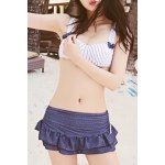 Preppy Style Striped Underwire Three Piece Swimsuit For Women deal
