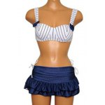 best Preppy Style Striped Underwire Three Piece Swimsuit For Women
