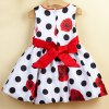 cheap Sweet Rose Polka Dot Print Sleeveless Girl's Dress