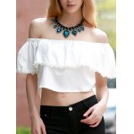 Sweet Off-The-Shoulder Lace Hem White Crop Top For Women