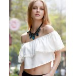 Sweet Off-The-Shoulder Lace Hem White Crop Top For Women deal