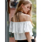 Sweet Off-The-Shoulder Lace Hem White Crop Top For Women for sale