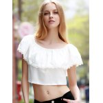 cheap Sweet Off-The-Shoulder Lace Hem White Crop Top For Women