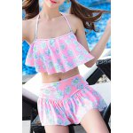 cheap Sweet Style Flouncing Floral Print Tankini Set For Women