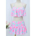 Sweet Style Flouncing Floral Print Tankini Set For Women deal