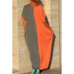 cheap Stylish Round Neck Bat-Wing Sleeve Loose Color Block Women's Dress
