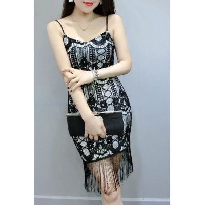 Fashionable Spaghetti Strap Fringe Print Dress For WomenWomens Clothing<br>Fashionable Spaghetti Strap Fringe Print Dress For Women<br><br>Style: Casual<br>Material: Lace<br>Silhouette: Sheath<br>Dresses Length: Knee-Length<br>Neckline: U Neck<br>Sleeve Length: Sleeveless<br>Pattern Type: Print<br>With Belt: No<br>Season: Summer<br>Weight: 0.158kg<br>Package Contents: 1 x Dress