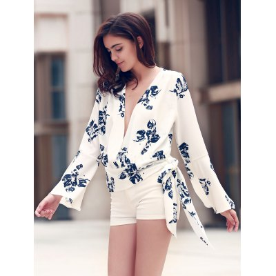 Alluring Plunging Neckline Flare Sleeve Floral Print T-Shirt