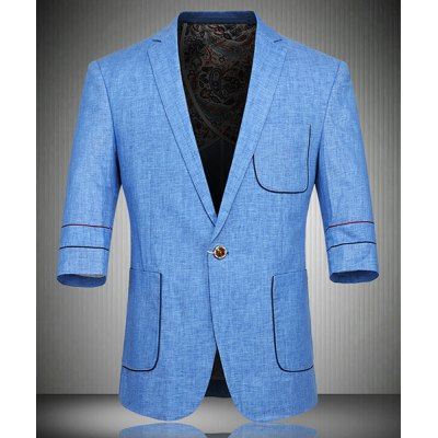 Single Button Flax Three Quarter Sleeve Blazer For Men