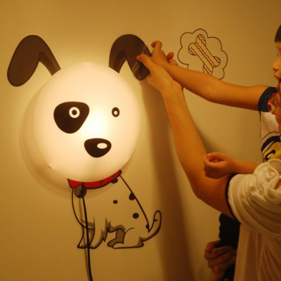 3D Cartoon Spotted Dog Shape Bedside Energy Saving Light Wall Sticker Lamp