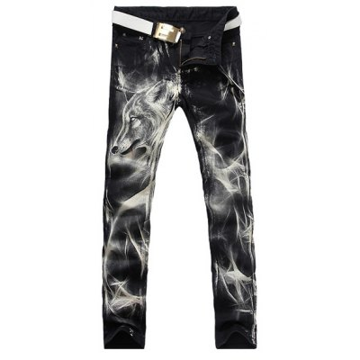 Zip Fly Wolf Printing Straight Legs Denim Pants For Men