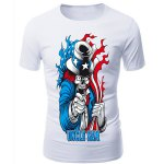 cheap 3D Clown Devil Print Round Neck Short Sleeves T-Shirt For Men