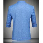 Single Button Flax Three Quarter Sleeve Blazer For Men deal