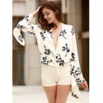 cheap Alluring Plunging Neckline Flare Sleeve Floral Print T-Shirt For Women