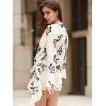 Alluring Plunging Neckline Flare Sleeve Floral Print T-Shirt For Women deal
