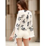 Alluring Plunging Neckline Flare Sleeve Floral Print T-Shirt For Women for sale