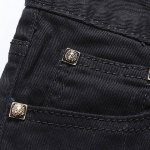 Casual Zip Fly Wolf Printing Straight Legs Denim Pants For Men for sale