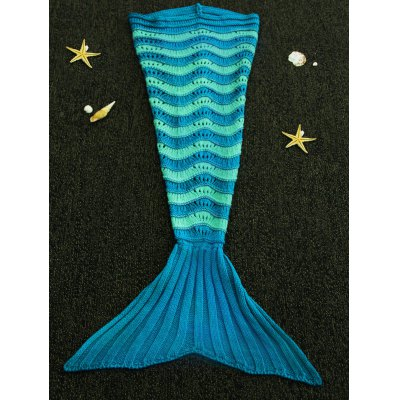 Sweet Hit Color Knitted Stretchy Fishtail Blanket For kids