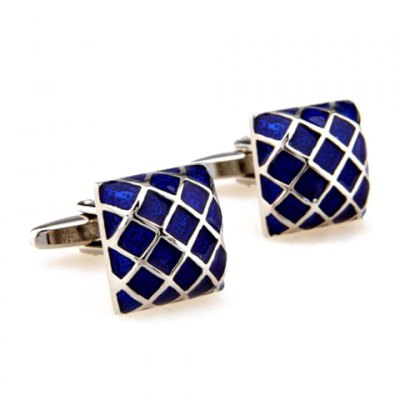 Pair of Stylish Gingham Shape Electroplate Alloy Cufflinks For Men