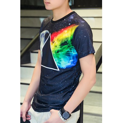 3D Space and Geometric Print Round Neck Short Sleeve T-Shirt For Men