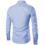 cheap Turn-Down Collar Color Block Splicing Suture Line Design Long Sleeve Men's Shirt