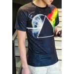 cheap 3D Space and Geometric Print Round Neck Short Sleeve T-Shirt For Men
