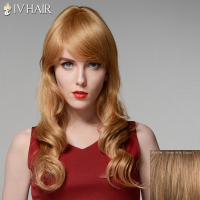 Siv Hair Outstanding Side Bang Capless Vogue Long Fluffy Wavy Human Hair Wig For Women