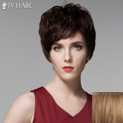 Stunning Short Siv Hair Capless Shaggy Wave Side Bang Real Human Hair For Women